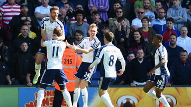James Morrison of West Brom (L) celebrates the opening goal