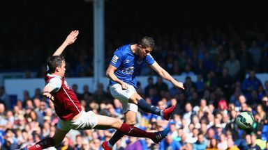 Kevin Mirallas of Everton scores against Burnley