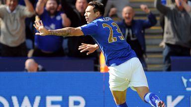 Leonardo Ulloa: Celebrates his opener against Swansea