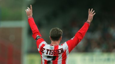 Matthew Le Tissier salutes the Southampton fans while playing against QPR in 1995