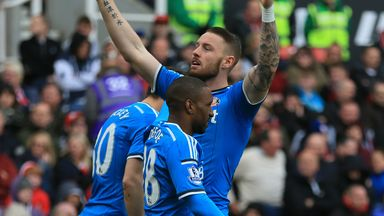 Sunderland's Connor Wickham (facing) celebrates scoring his sides first goal of the game against Stoke