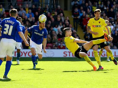 Craig Cathcart of Watford scores the first goal