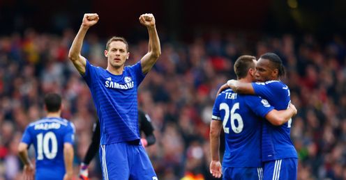 Nemanja Matic celebrates Chelsea' draw with Arsenal