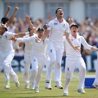 James Anderson and England celebrate beating Australia in Nottingham in 2013