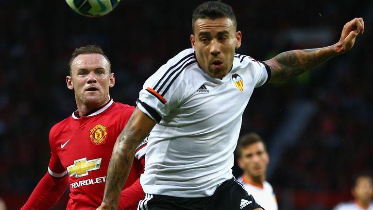 Nicolas Otamendi playing for Valencia against United in a pre-season friendly