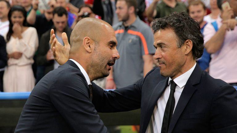 Luis Enrique (right) does not see incoming Manchester City manager Pep Guardiola as a threat