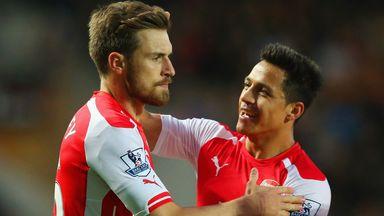 Aaron Ramsey: Celebrates his goal with Alexis Sanchez