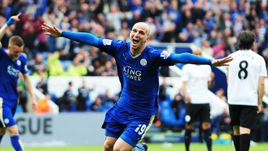 Esteban Cambiasso: Celebrates after scoring the fourth of the Leicester goals