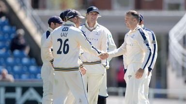 James Middlebrook is congratulated by Yorkshire captain Andrew Gale (Photo: Gareth Copley/Getty Images)