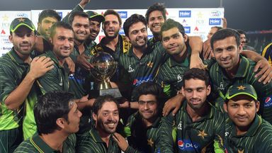 Pakistan pose with the trophy after winning their T20 series against Zimbabwe