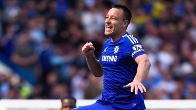John Terry celebrates after Chelsea seal the Premier League title