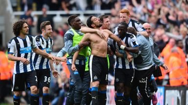 Gutierrez celebrates with his Newcastle team-mates