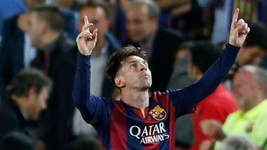 Barcelona's Lionel Messi celebrates after scoring the opening goal
