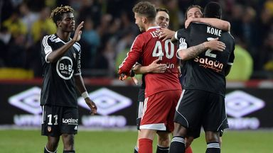 Lorient celebrate securing their Ligue 1 status