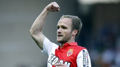 Monaco forward Valere Germain celebrates after scoring against Toulouse