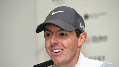 Rory McIlroy of Northern Ireland answers questions from the media