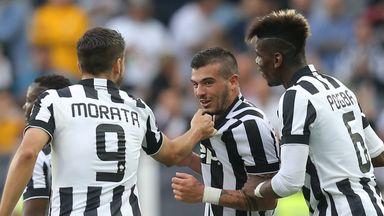 Juventus midfielder Stefano Sturaro celebrates with his team-mates
