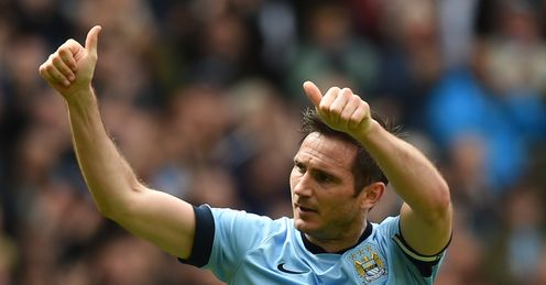 Frank Lampard celebrates after scoring in his final game for Manchester City.