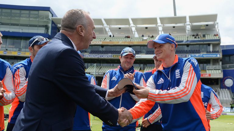 Sam Billings receives his first England cap - he has supplanted Bairstow in England's ODI squad
