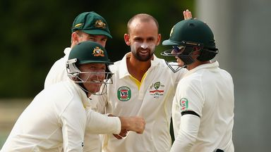 Nathan Lyon in congratulated after taking a wicket during the recent tour of the West Indies