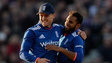 Adil Rashid (R) with Jason Roy (L) during the recent ODI series win over New Zealand.