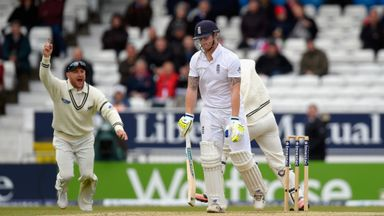 Ben Stokes reacts after being dismissed