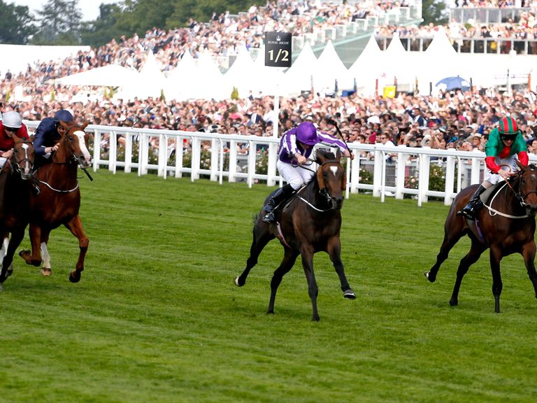 Jockey Ryan Moore and Aloft winning the Queen's Vase