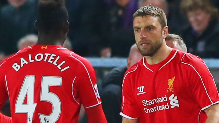 Lambert (right) struggled to break into the starting XI while at Liverpool