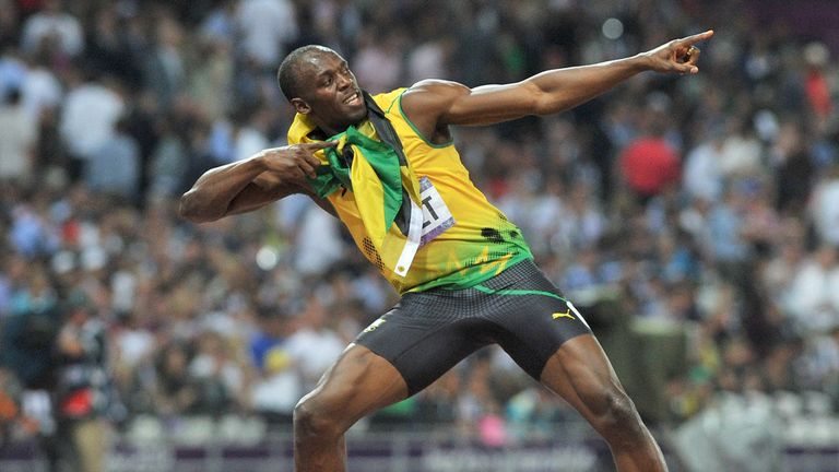 Jamaicau0027s Usain Bolt does his trademark u0027Lightening Boltu0027 after winning the gold medal in & Usain Bolt upbeat over fitness ahead of Beijing showpiece ... azcodes.com