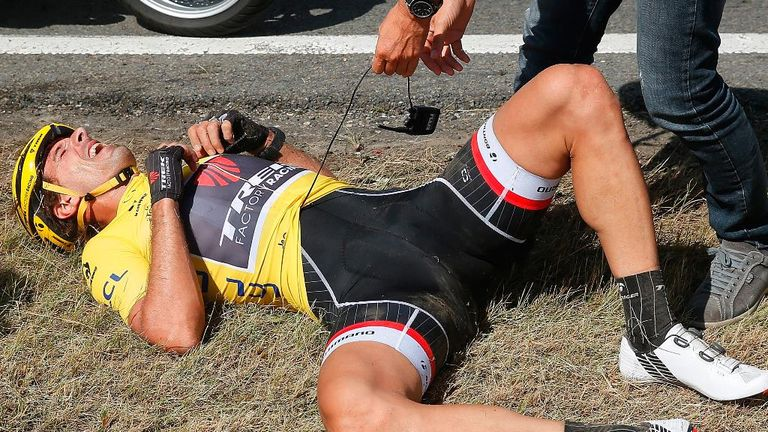 Fabian Cancellara crashed out on stage three of the Tour to show how volatile the sport can be, less than 24 hours after he claimed the yellow jersey
