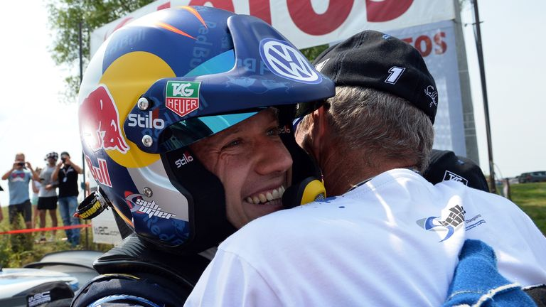 Sebastien Ogier celebrates after clinching victory in Baranowo