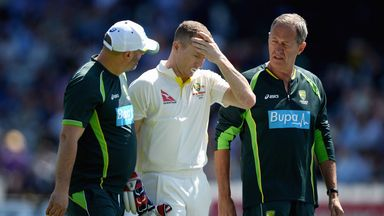 Chris Rogers retired hurt when he suffered a dizzy spell at Lord