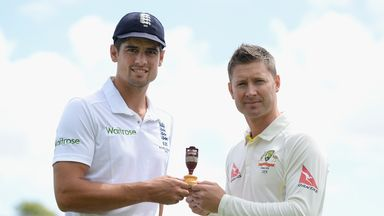 England captain Alastair Cook and Australian captain Michael Clarke poses with the Ashes urn