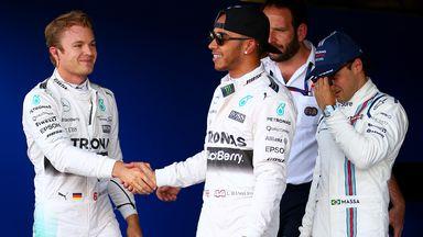 Nico Rosberg congratulates Lewis Hamilton on his pole position for the British GP