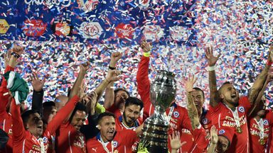 Chile celebrate after winning the 2015 Copa America, beating Argentina 4-1 on penalties in the final in Santiago