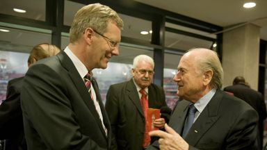 Former German President Christian Wulff and FIFA President Sepp Blatter at the World Cup in South Africa in 2010