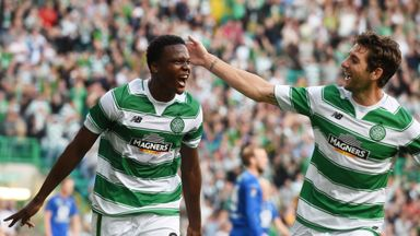 Celtic debutant Dedryck Boyata (left) celebrates his opening goal with Charlie Mulgrew