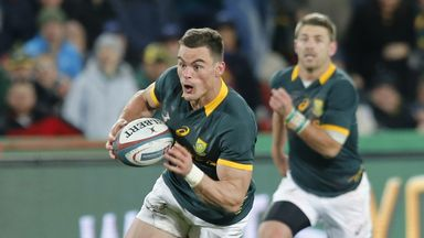 South Africa centre Jesse Kriel runs to score a try during  South Africa versus New Zealand at Ellis Park