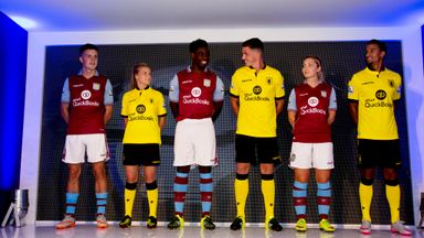 Micah Richards was one of several Aston Villa players present at the club's kit launch