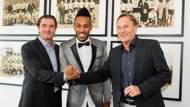 Pierre-Emerick Aubameyang (middle) had been linked with a move to Premier League.