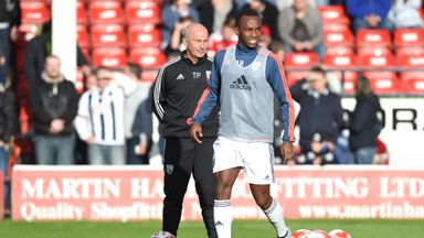 Manager Tony Pulis with Saido Berahino ahead of their friendly against Walsall
