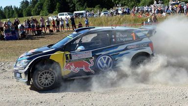 Sebastien Ogier in action in the Rally of Poland