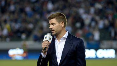 Gerrard addresses the crowd at the StubHub Center