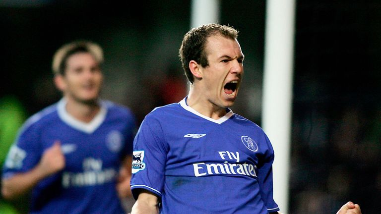LONDON - DECEMBER 18: Arjen Robben of Chelsea celebrates scoring his teams third goal during the Barclays Premiership match between Chelsea and Norwich