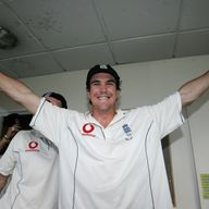 Kevin Pietersen celebrates in The Oval dressing room