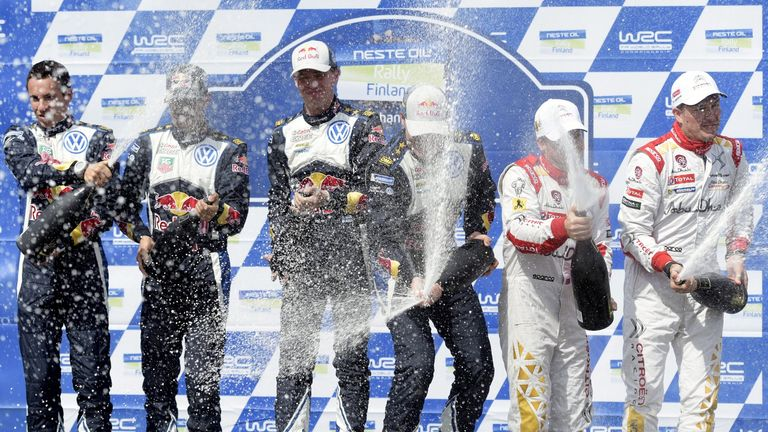 Jari-Matti Latvala celebrates his Rally of Finland victory