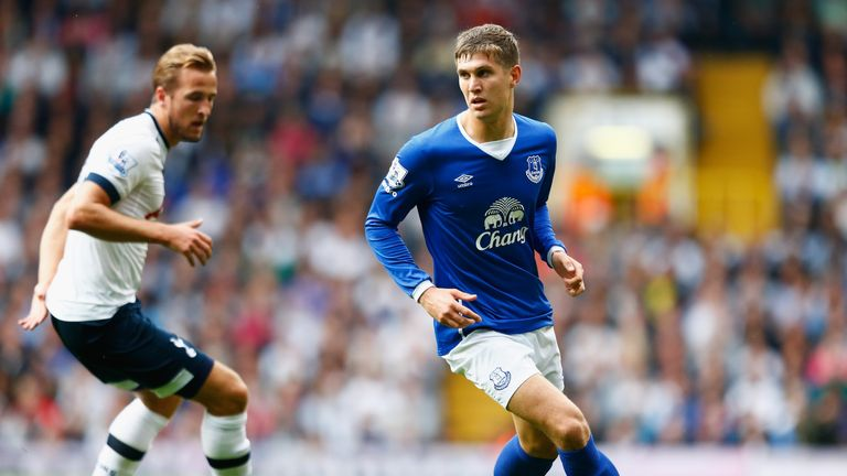 Kane was unable to get the better of Everton's John Stones