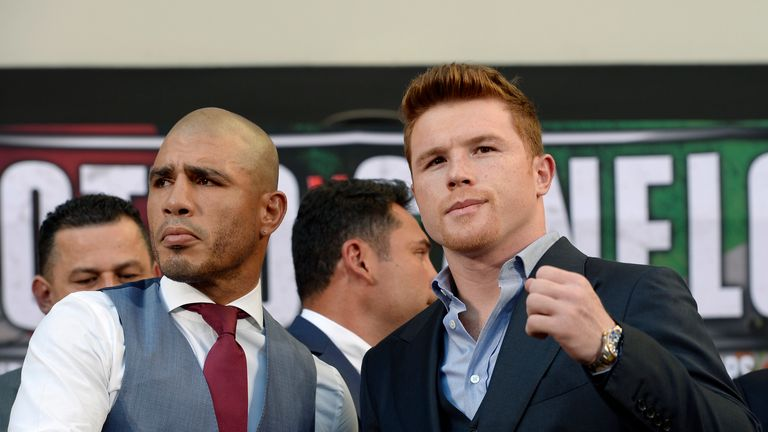 WBC champion Miguel Cotto (L) and contender Saul 'Canelo' Alvarez will meet in Vegas later this month