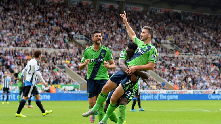Southampton's Shane Long celebrates his late equaliser at Newcastle