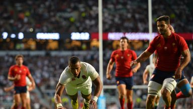 Anthony Watson (C) scores his second try during the World Cup warm-up match against France at Twickenham